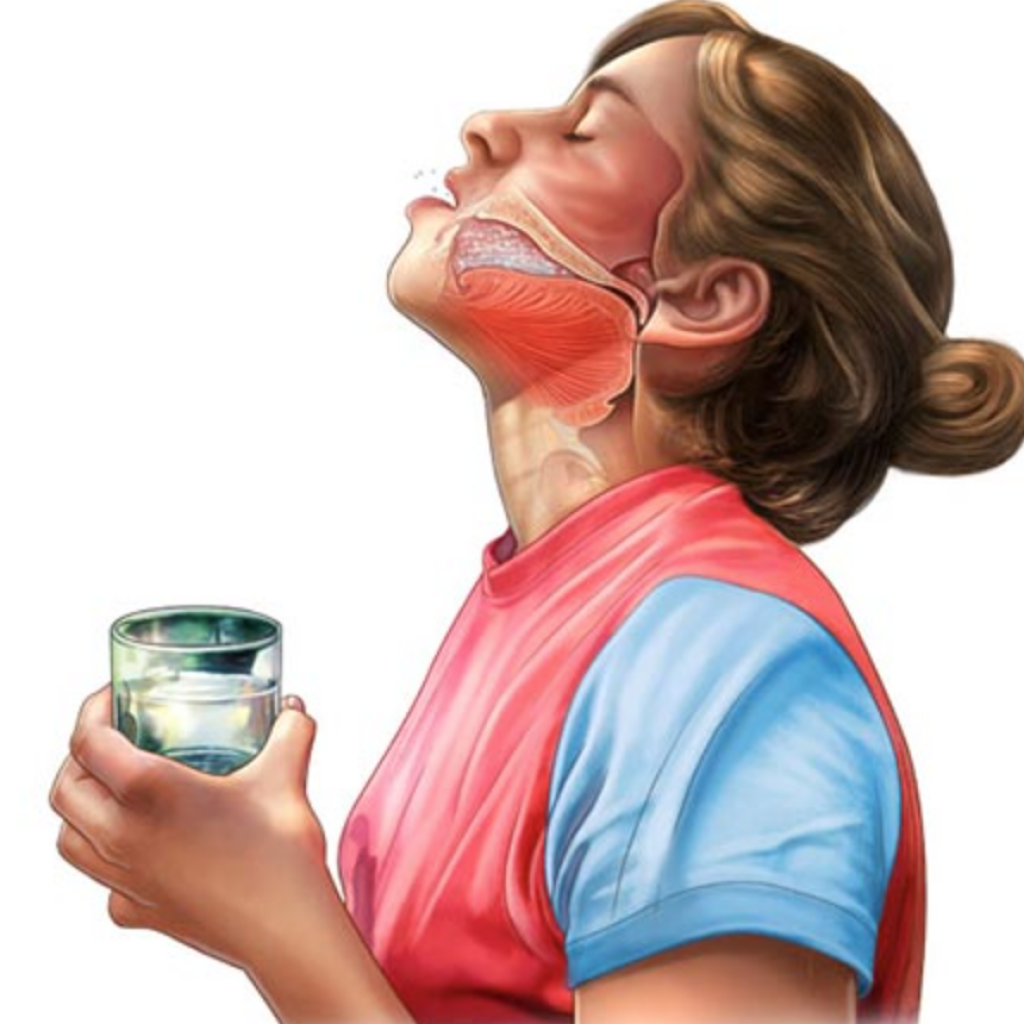 Цель полоскания – смягчить слизистую ротоглотки и очистить ее от микробов. На фото показана техника процедуры.