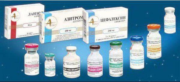 На фото основные антибактериальные препараты для лечения горла