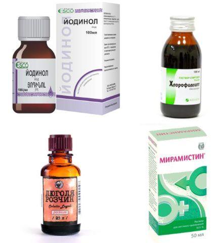На фото препараты для полоскания горла при тонзиллите