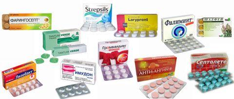 На фото различные таблетки от боли в горле