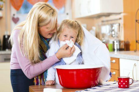 Ингаляции над тазом с горячей водой ребенку